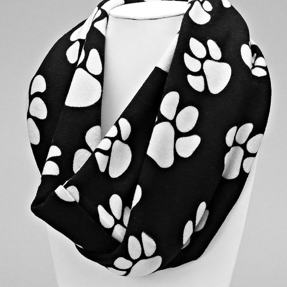 Orange and White Paw Print Infinity Scarf